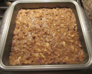 Blondies in tray ready to bake