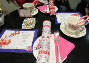 Table upon arrival, Bakery christmas afternoon tea, candy cane