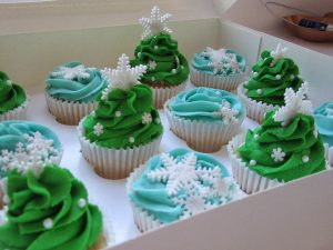 Christmas cupcakes, christmas tree, snowflake, close up
